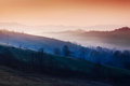 Mountains in morning fog Royalty Free Stock Photo