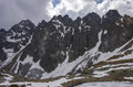 Mountains panorama  in High Tatra  near Rysy peak and Strbske Pl Royalty Free Stock Photo