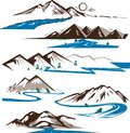 Mountains and rivers clip art collection of stylized Royalty Free Stock Images