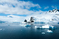 Mountains scenic view in antarctica and ices during sunny day Royalty Free Stock Image