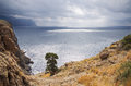 Mountains and sea coastline with pine trees inzhir reserve crimea ukraine Stock Photo