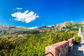 Mountains of sicily the chain the madonie in italy in a beautiful panoramic view taken from the square polizzi a small Royalty Free Stock Photography