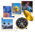 Mountains ski Austria images and compass Royalty Free Stock Photo