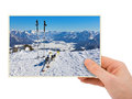 Mountains ski resort austria photography in hand my photo isolated on white background Stock Image