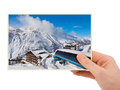 Mountains ski resort austria photography in hand my photo on white background Stock Images