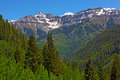 Mountains in snow and forests on hillsides of telluride colorado usa a beautiful day summer Stock Photos