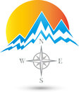 Mountains and sun, Sport and Tourism Logo