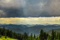 Mountains under storm cloud Royalty Free Stock Photo