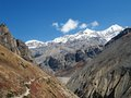 Mountains the view of seen on the way to thorong la pass nepal Stock Photography