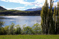 Mountains views over lake hayes the mountain view in new zealand Royalty Free Stock Photo