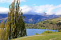 Mountains views over lake hayes the mountain view in new zealand Stock Photography