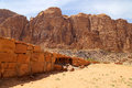 Mountains of wadi rum desert also known as the valley of the moon is a cut into sandstone and granite rock in southern Stock Photography