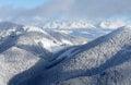 Hory, dřevo a sníh