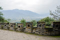 Mountainside ancient brick parapet in cloudy winter afternoon dujiangyan china Stock Photography