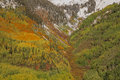 Mountainside aspens in fall a colorful scenic landscape of a colorado rocky mountains Royalty Free Stock Photography