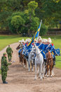 The mounted army music corps waiting and get instructions before entering the stadium Royalty Free Stock Photo