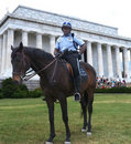 Mounted Park ranger in front of Lincoln Memorial Stock Images