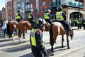 Mounted police cordon the streets june english defence league and united against fascism protest sheffield uk Royalty Free Stock Photos
