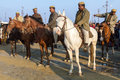 Mounted policemen at the kumbha mela india allahabad feb on watch during festival of on february th allahabad Stock Image