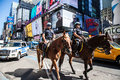 Mounted policemen on times square manhattan Royalty Free Stock Images