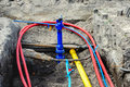 Mounting of underground cables and pipes in the residential cons Royalty Free Stock Photo