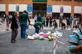 Mourners gather for mandela people and lay flowers in nelson square in sandton city to pay respects to the former leader of south Royalty Free Stock Photos