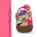 Mouse in a basket vector ilustration Royalty Free Stock Image
