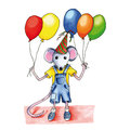 Mouse birthday balloons little child with many Royalty Free Stock Images