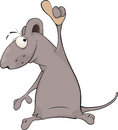 Mouse cartoon grey lovely with the lifted pad Stock Photography