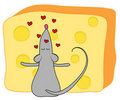 Mouse and cheese. Stock Images