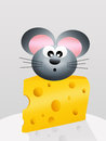 Mouse in cheese on abstract illustration Royalty Free Stock Photos
