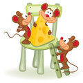Mouse with cheese on a chair vector illustration Stock Image