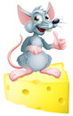 Mouse and cheese an illustration of a happy cartoon or rat that has got the giving a thumbs up Stock Image