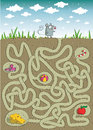 Mouse cheese maze game children hand drawn illustration eps mode task find way to cheese solution hidden layer Royalty Free Stock Image