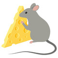 Mouse and cheese with slice isolated on white background Stock Images
