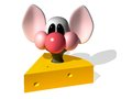 Mouse and cheese the three dimensional cartoon image of a who sits in a piece of the image on a white background Royalty Free Stock Photography