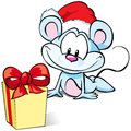 Mouse with Christmas present Royalty Free Stock Photo