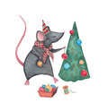 A mouse with Christmas Tree Royalty Free Stock Photo