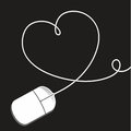 Mouse computer with cable in the shape of a heart Royalty Free Stock Photography