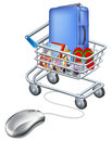 Mouse connected to holiday shopping cart Royalty Free Stock Photo