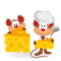 Mouse cook with cheese vector illustration Stock Image