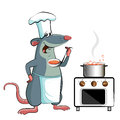 Mouse cook chef holdson a white background Stock Image