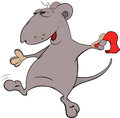 Mouse dance with a scarf cartoon the grey cheerful dances red Stock Image