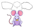A mouse eating cheese with empty callouts illustration of on white background Royalty Free Stock Images