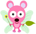 Mouse fairy a cute with wings holding a wand and a leaf Royalty Free Stock Photos