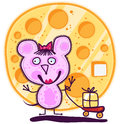 Mouse girl and big cheese pink with a bow on his head with a cart on which lies a piece of behind the s huge round Royalty Free Stock Image
