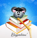 Mouse graduate illustration of on books Royalty Free Stock Photography