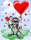 Mouse with heart balloon Stock Image