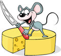 Mouse holding a cheese knife - vector Royalty Free Stock Photo