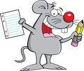 Mouse holding a paper and pencil Royalty Free Stock Photos